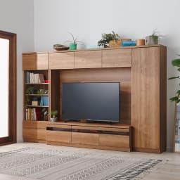 天然木調テレビ台ハイバックシリーズ テレビ台・幅120.5奥行45cm コーディネート例