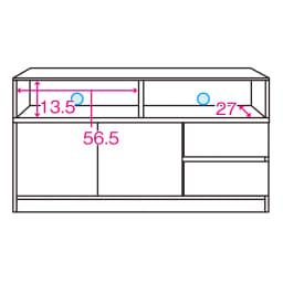 【完成品・国産家具】ベッドルームで大画面シアターシリーズ テレビ台 幅120高さ55cm 内寸図 ※赤文字は内寸(単位:cm)※青色部分はコード穴