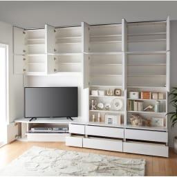 コーナーテレビ台壁面収納シリーズ 幅117cm TV台左壁設置用 コーディネート例(ア)ホワイト 画像は幅150cm