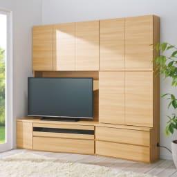コーナーテレビ台壁面収納シリーズ 幅117cm TV台左壁設置用 コーディネート例(イ)ライトブラウン