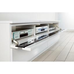 ラインスタイルシリーズ テレビ台 幅150cm フラップ扉はバタンと倒れないソフトダウンステー仕様。