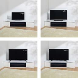 住宅事情を考えたコーナーテレビボード 幅165cm・左コーナー用(左側壁用) テレビ台とテレビのバランス参考。 ※テレビメーカーによって同じインチ数でもサイズが異なります。ご使用のテレビサイズをご確認ください。