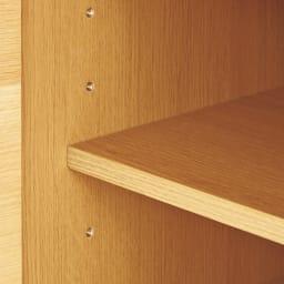 オーク材アールデザインリビングシリーズ テレビ台ハイ 幅120cm 約6cmピッチで調節できる可動棚板付き。