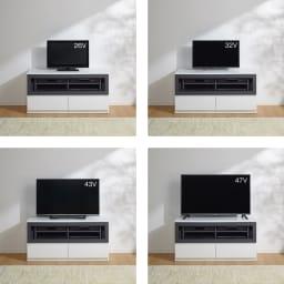 ソファや椅子からも見やすい高さ60cmの テレビ台 幅120cm テレビ台幅120cmとテレビのバランス参考。※テレビメーカーによって同じインチ数でもサイズがことなります。ご使用のテレビサイズをご確認ください。