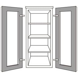 ソファや椅子からも見やすいテレビ台シリーズ キャビネット幅40cm(左右兼用) キャビネット幅40の扉は左右兼用。 扉の左右付け替えができ、右開き・左開きのどちらにもできます。