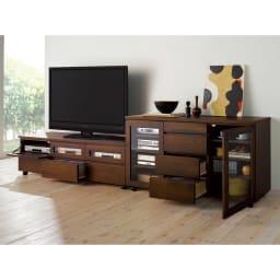 アルダー天然木ユニットボード キャスター付きテレビ台 幅159cm (イ)ダークブラウン お届けは左側のテレビ台です。