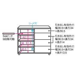 【ローチェスト】アルダー天然木ユニットボード キャスター付きキャビネット収納 幅90.5cm 内寸図