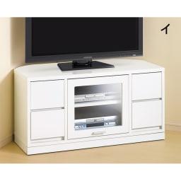 角度が自由自在の収納充実コーナーテレビ台 幅100高さ50cm (イ)ホワイト 隠しキャスター付き。
