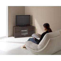 角度が自由自在の収納充実コーナーテレビ台 幅100高さ50cm (ア)ダークブラウン コーナーがテレビの指定席