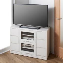 角度が自由自在の収納充実コーナーテレビ台 幅100高さ70cm コーディネート例(イ)ホワイト