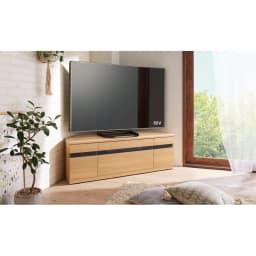 大型テレビが見やすいスイングコーナーテレビ台 幅130cm (ア)ナチュラルオーク 美しい木目のおしゃれなテレビボードです。