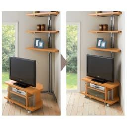 テレビ上の空間を有効活用できる突っ張り式スペースラックコーナー用 幅90cm・2段 コーナー用テレビ台を突っ張り式スペースラックにセットするだけで簡単に設置できます。