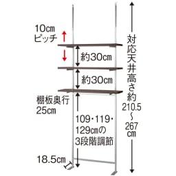 突っ張り式スペースラック 3段 幅89.5cm