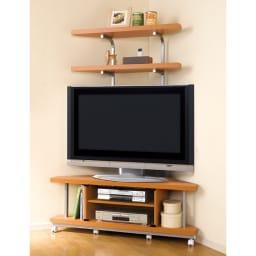 テレビ上の空間を有効活用できるシリーズ コーナー用テレビ台 幅90cm・棚2段 (ア)ナチュラル色見本 薄型液晶テレビにももちろん対応いたします。写真は幅120cmタイプ