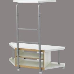 テレビ上の空間を有効活用できるシリーズ コーナー用テレビ台 幅120cm棚1段 裏面(背板取り外し時)