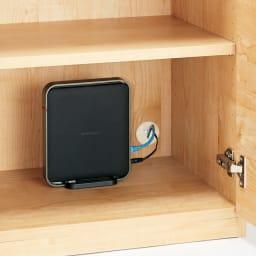 テレワークにも最適 北欧スタイルリビング収納シリーズ PCキャビネット幅90cm 扉内のオープンスペースは配線用コード穴付き。※PCキャビネットタイプの最下部はスライド棚となります。