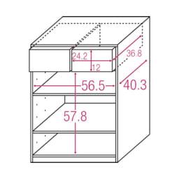 テレワークにも最適 北欧スタイルリビング収納シリーズ 2枚扉タイプ 幅60cm 内寸図(単位cm)