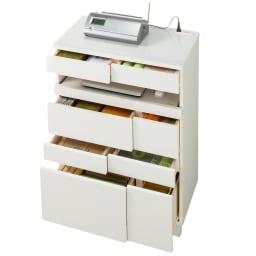 インクジェットプリンターが置ける オールインワン収納引き出しFAX台 幅67cm 小引き出しが多く、分別収納ができます。