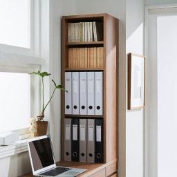 天然木調 薄型コンパクトオフィスシリーズ サイドラック・幅30cm ラック部収納イメージ(2)…文庫本2段、A4ファイル2段の収納。※可動棚板2枚仕様