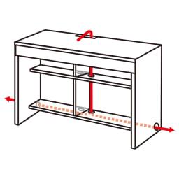 幅サイズオーダー ジャストフィットするデスク 幅60~180cm・奥行45cm(幅1cm単位オーダー) コード類は収納スペースに隠して配線できる構造。