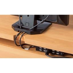 アルダー天然木 アールデザインデスクシリーズ デスク・幅80.5cm デスク天板の背面には配線等の収納スペース付き。