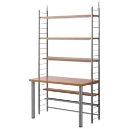 突っ張り式高さ調節シリーズ 伸長デスクラック 幅118cm (ア)ナチュラル:圧迫感がなく、お部屋がすっきりと片付きます。
