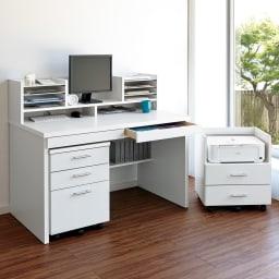 シンプルワークデスク サイドチェスト幅44cm (イ)ホワイト ※お届けはサイドチェストです。※別シリーズ「あふれる書類すっきり!分類整理デスク」とも合わせてご使用いただけます。