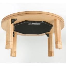 【円形】 4段階高さ調整 平面パネルヒーター円形こたつ 径90cm 平面パネルヒーター。写真は径120タイプです。