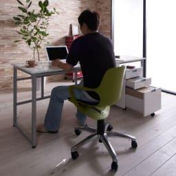 北欧風 昇降式スタイルオフィスチェア (イ)オリーブ