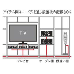 奥行44cm 生活感を隠すリビング壁面収納シリーズ テレビ台 ミドルタイプ 幅120cm 配線は側面コード穴から内部を通せるので、設置後のセッティングや並び変えも簡単・手軽に行えます。幅木カットで壁にピッタリ設置もできます。