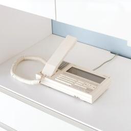 スイッチ避け壁面収納シリーズ スイッチよけタイプ(上台扉付き・下台引き出し)幅45cm奥行30cm 家電製品…中天板のカキコミを通して配線OK!電話も無理なく置けます。