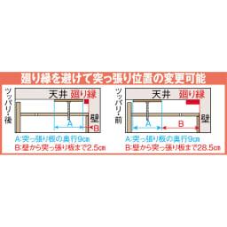 オーダー対応突っ張り式上置き(1cm単位) 幅75cm・高さ51~78cm 突っ張り板のサイズと設置時の壁との位置関係