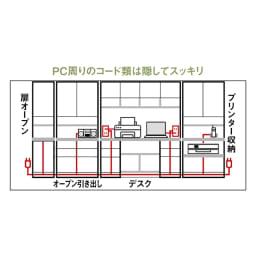 書斎壁面収納シリーズ 収納庫 オープン引き出しタイプ 幅116.5cm コード類はタテ・ヨコ自在に内部を通せる構造。外側から見えず、設置後の配線も簡単。
