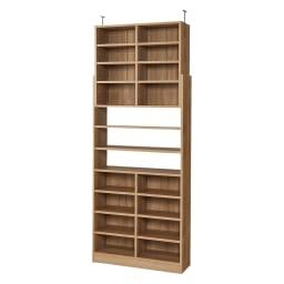 1台で壁いっぱいに本を収納!本好きのための壁面つっぱり本棚 本体幅90奥行29.5cm (ア)ブラウン(木目調)