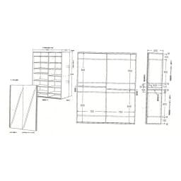 光沢仕様 引き戸 壁面収納本棚 幅150奥行40高さ180cm 【詳細図】