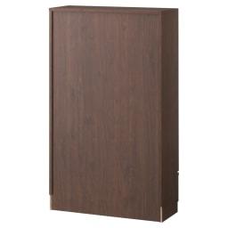 アルダー天然木頑丈書棚幅77奥行32ミドルタイプ高さ130cm (イ)ダークブラウン※背面化粧仕上げ