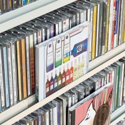 たっぷり収納!スチールラック 突っ張り式 CD用 幅91.5cm CD用には、ディスプレイできる溝付き棚4枚付き。