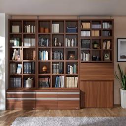 【完成品】重厚感のあるがっちり本棚シリーズ チェスト付き 幅110高さ162奥行45cm 色見本(ア)ダークブラウン