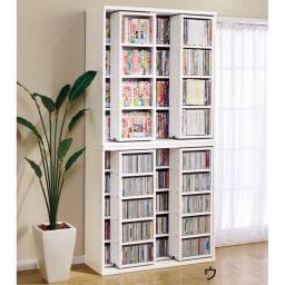 スライド式CD&コミックラック 3重タイプ4段 幅120cm [コミック・文庫本・DVD用] (ウ)ホワイト色見本 ※写真は、2重スライドタイプです。 ■こちらの品番の3重タイプは、耐荷重の関係上で、上下積み重ねての設置はできません。
