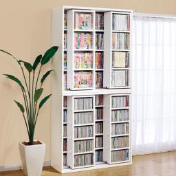 スライド式CD&コミックラック 3重タイプ5段 幅120cm [CD用] (ウ)ホワイト色見本 ※写真は、2重スライドタイプです。 ■こちらの品番の3重タイプは、耐荷重の関係上で、上下積み重ねての設置はできません。