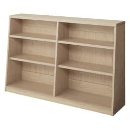 脚元安定1cmピッチ棚板頑丈薄型書棚 高さ76.5cm 【幅118cmタイプ】(ウ)ナチュラル