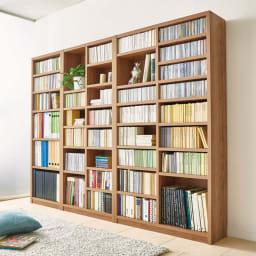 組立不要 天然木調棚板頑丈本棚 奥行29cm リビングや寝室にもなじむナチュラルな木目柄です。
