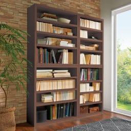 組立不要1cmピッチ頑丈棚板本棚 オープンタイプ コーディネート例(ウ)ダークブラウン ※左から幅80cmタイプ、幅60cmタイプです。