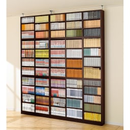 1cmピッチ薄型壁面書棚 奥行28cm 幅123cm 高さ180cm オープン (ア)ダークブラウン色見本 写真は奥行20cmタイプです。 天井対応は239~258cmです。