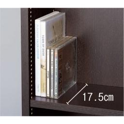 1cmピッチ薄型壁面書棚 奥行19cm 幅123cm 上置き高さ55cm オープン 奥行19、20.5cmの浅型は文庫やCDの収納に。