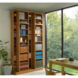 本格仕様 快適スライド書棚 オープン・上置き付き 3列 取り出しやすさが魅力のオープンタイプ。まるで図書館のようなたたずまいを我が家にも。
