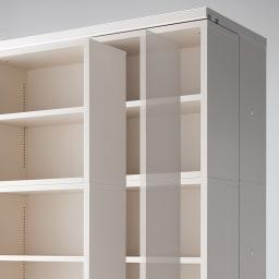 本格仕様 快適スライド書棚 オープン・上置き付き 3列 軽い力でなめらかに動くベアリング式。
