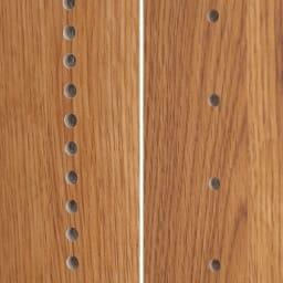 本格仕様 快適スライド書棚 オープン・上置き付き 4列 手前の棚板は1cmピッチ、奥は3.2cmピッチで高さを調節でき、効率よく本を収納できます。
