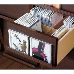 奥行39cm マガジン&レコードキャビネット ベース CDプラス扉タイプ3段2列[高さ85・幅75.5cm] 仕切り付きの引出し。