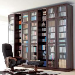 本格仕様 快適スライド書棚 タモ天然木扉付き 4列 (ア)ダークブラウン 色見本